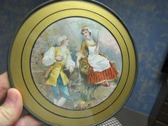VINTAGE ANTIQUE STOVE PIPE FLUE COVER W/ GLASS VICTORIAN BOY GIRL COURTING SWING