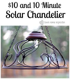 Solar Chadelier - This is a great way for me to repurpose 3 existing wire hanging flower baskets I have now. The crows keep tearing apart the moss liners so I'm done with them as flower baskets. Yay for repurposing! Solar Patio Lights, Patio Lighting, Landscape Lighting, Lighting Ideas, Solar Chandelier, Chandeliers, Chandelier Ideas, Outdoor Chandelier, Solar Lamp