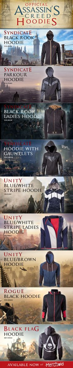 The Official Assassin's Creed Hoodies from Assassin's Creed Rogue, Black Flag, Unity and Syndicate