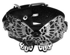 Bracelet CUIR - Butterfly Skull - http://rockagogo.com #Bijoux #Rock #Punk #Gothique #Metal Papillon Tete de Mort
