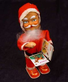 Vtg Wind Up Santa Claus Toy Turning Book Pages Japan Works | eBay