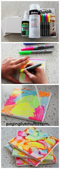Sharpie Art Tiles by Kids