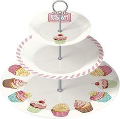 Katie Alice Cupcake-Etagere aus Keramik, 3 Etagen