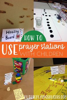 How do you help kids to pray more than rote words or God bless my puppy? Prayer Stations are helpful to show kids ways to pray and to keep them focused. Sunday School Curriculum, Sunday School Activities, Church Activities, Sunday School Lessons, Bible Object Lessons, Bible Lessons For Kids, Bible For Kids, Kids Church Lessons, Childrens Prayer
