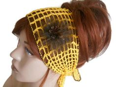 Festival Head band, Yellow Gypsy Head band, Women Knit Head band, Crochet Headband, Yellow Knit Hair Band, Turban Woman, Head band for Women    Yellow mercerized yarn was used. The edges are brown. Removable brown flower. Elsewhere, you can use a combination. Excellent accessory. You can use it in all seasons. Hair adds beauty. Elegant style headband.  COLOR: Yellow, Brown    MAINTENANCE INSTRUCTIONS Hand washing. Leave it to dry.   Deliveries will be sent within 1-3 days of receiving…