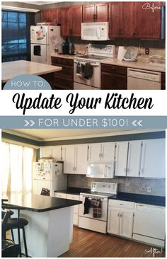Kitchen Makeover on a Budget! Countertop Paint that looks like natural stone and a one-day cabinet paint makeover! #DIY www.gianigranite.com www.nuvocabinetpaint.com