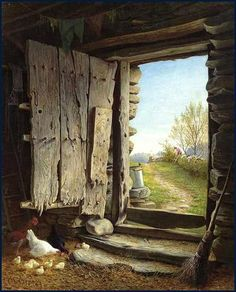 In a Perfect World. Country Art, Country Life, Old Doors, Windows And Doors, Farm Art, Through The Window, Perfect World, Old Barns, Doorway