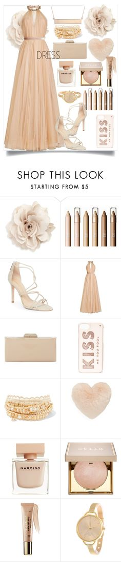 """""""Dreamy dress"""" by junethesev7n ❤ liked on Polyvore featuring Cara, Schutz, Jenny Packham, Dune, Kate Spade, Chan Luu, Nordstrom, Narciso Rodriguez, Stila and tarte"""