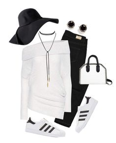 """Black and White Winter Chic"" by curvygirlamy ❤ liked on Polyvore featuring Paige Denim, Calvin Klein Collection, adidas Originals, Aqua, STELLA McCARTNEY and Kate Spade"