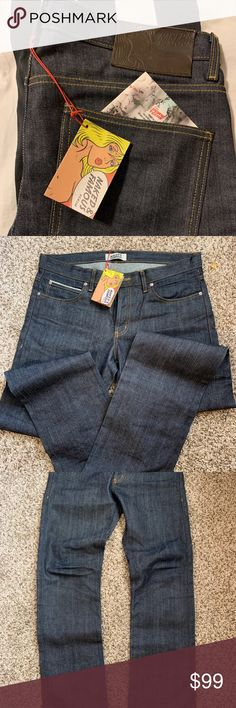 Naked and famous raw jeans Rand new never worn raw jeans from naked and famous 36 Inseam Hem Waist true 36 Naked & Famous Denim Jeans Raw Jeans, Denim Jeans, Denim Button Up, Button Up Shirts, Blue Denim, Naked, Man Shop, Best Deals, Closet