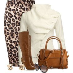 A fashion look from November 2013 featuring white jacket, brown skirt and tan boots. Browse and shop related looks. Mode Outfits, Dress Outfits, Fashion Outfits, Womens Fashion, Fashion Trends, Fashion Bloggers, 90s Fashion, Korean Fashion, Dresses