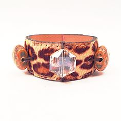 Vintage Leopard Fur Cuff with Ceramic & Glass Accent Beads