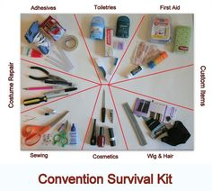 "Making a Con Survival Kit cosplaying-on-a-budget: "" What any cosplayer needs to survive a convention: No matter how prepared I think I am for a convention I always seem to leave something important at. Uraraka Cosplay, Easy Cosplay, Cosplay Makeup, Halloween Cosplay, Simple Cosplay, Avatar Cosplay, Anime Cosplay, Pokemon Cosplay, Casual Cosplay"