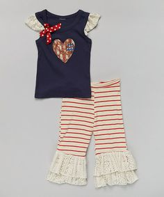 Love this Navy Baseball Tank & Cream Ruffle Pants - Toddler & Girls by Ruby and Rosie on #zulily! #zulilyfinds