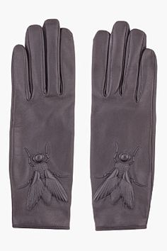 KENZO black Embossed Leather Glove