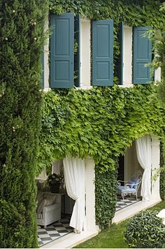 ivy covered + blue-green shutters