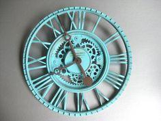 Roman Numeral Clock Shabby and Chic Aqua Blue Rustic di Swede13