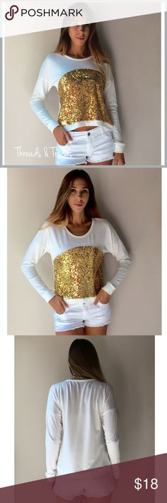 Gold Shimmer Sequin Top Gold Shimmer Sequin Top   Features  * Gold sequin  * Dolman long sleeves  * Breathable easy cotton & spandex   Stylist note: pair with jeans, leggings, or shorts for a causal comfy look. Tops Tees - Long Sleeve