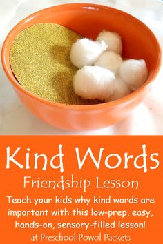 Kind Words Sensory Lesson Friendship Activity The sensory aspect of this lesson—sandpaper and cotton balls—really hits the mark! Social skills including empathy and kindness, which are not intuitive for all preschoolers, are effectively reinforced. Preschool Lessons, Preschool Classroom, In Kindergarten, Preschool Activities, Science For Preschoolers, Manners Preschool, Kindergarten Preparation, Sabbath Activities, Feelings Preschool