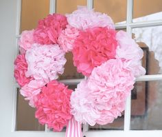 DIY- Pink Tissue Paper Flower Wreath. This would be perfect for a shower or birthday party!