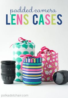 DIY Padded Camera Lens Case Sewing Tutorial and pattern on polkadotchair.com
