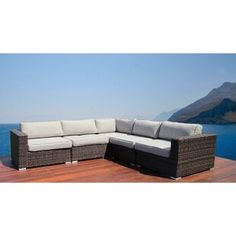 Sit back, relax and enjoy Eldora Resort Grade Patio Sectional. With it's exclusive thick ultra-soft cushions, this Eldora Resort Grade Patio Sectional with Cushions is as comfortable as it is strikingly designed. Backyard Seating, Outdoor Seating, Outdoor Decor, Outdoor Sofas, Outdoor Living, Outdoor Pergola, Outdoor Fire, Patio Loveseat, Patio Chairs