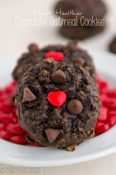 Be a little bit better to your heart by making heart healthier chocolate oatmeal cookies!