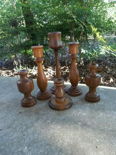 6 Vintage Candle Holders Wooden Candlesticks Rustic Wedding Decor Table Setting French Country Farmhouse Wood Candleholders Prairie Cottage