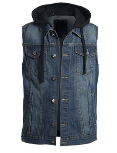 This premium denim vest with detachable hoodie is the perfect piece to layer over a t-shirt for an effortless edgy look. The subtle fading gives this vest a vintage feel that will never go out of styl Stylish Mens Fashion, Latest Mens Fashion, Fashion Edgy, Fashion Vintage, Work Fashion, Denim Vest Men, Denim Blazer, Mens Clothing Styles, Men's Clothing