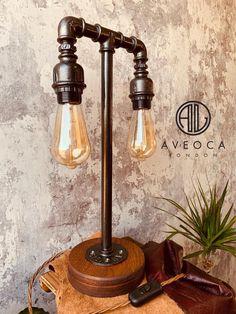 Pipe Lighting, Edison Lighting, Edison Lamp, Vintage Industrial Lighting, Industrial Lamps, Driftwood Lamp, Pipe Decor, Light Bulb Lamp, Handmade Lamps