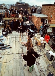Another view of the Beatles' rooftop performance.