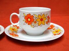 Set of 2 Vintage Tea Cups,Bavaria Winterling Marktleuthen Germany, Retro Orange Floral Pattern, Mid Century Modern, Space Age Design, 70's