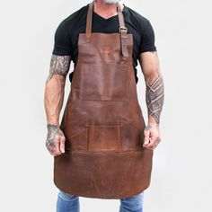 Introducing our brand new full-grain leather multi-pocket apron in a distressed waxy brown finish. This unisex apron can be personalised with embroidered initials in a selection of thread colours an. Leather Working, Metal Working, Barber Apron, Work Aprons, Leather Apron, Leather Workshop, Aprons For Men, Apron Pockets, Distressed Leather