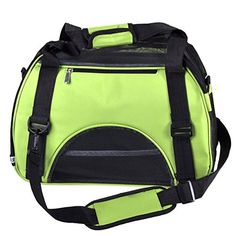 Yoption Portable Pet Carrier Outdoor Bag Airline Approved Tetrahedral Mesh Ventilative Travel Tote SoftSide Bag for Pets Cat and Small Dog L Green  *** Details can be found by clicking on the image.