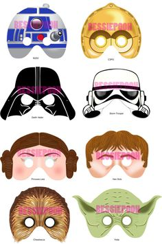 Star Wars printable masks; this Etsy store also has Disney Princess masks, the seven dwarfs and a collection of Hello Kitty.