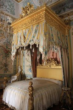 Canopy Bed inside Pavlovsk Palace, 18th century imperial residence near St. Petersburg, built by Paul I (son of Catherine II (the Great). [1st of three pins]