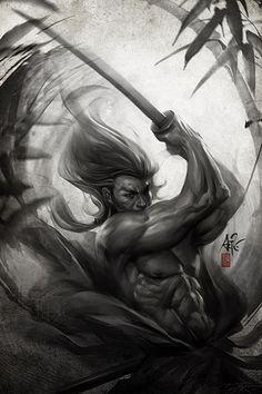 ARTIST: Stanley 'Artgerm' Lau (Singapore) | via: #Yellowmenace - Samurai Inspired (武士触発) | See 40 More Samurai Artworks + http://yellowmenace8.blogspot.com/2015/05/art-samurai-inspired.html