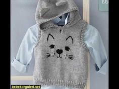 "Modèle pull à capuche chat Layette [ "" Modelo puxar um Capuz Gato - / Model pull a Cat Hood -"" ] # # # # # # # # # # Baby Knitting Patterns, Knitting For Kids, Baby Patterns, Baby Boy Knitting, Baby Sewing, Free Knitting, Baby Cardigan, Baby Pullover, Crochet Poncho"