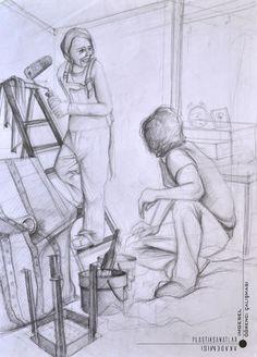 Güzel sanatlara hazırlık Karakalem imgesel çizimi.