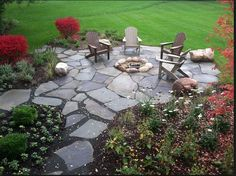 Backyard Flagstone Fire Pit Patio - Traditional - Patio - Chicago - by Doering Landscape Company Fire Pit Area, Fire Pit Backyard, Backyard Walkway, Fire Pit Off Patio, Patio Ideas With Fire Pit, Gravel Walkway, Fire Pit With Rocks, Sloped Backyard, Pergola Patio