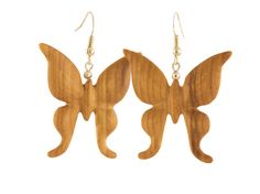 Butterfly carved wood earrings by WoodenJewelryArt on Etsy