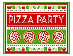 Free Pizza Party Printables   CatchMyParty.com