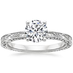 18K White Gold Delicate Antique Scroll Solitaire Ring from Brilliant Earth