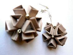 Say Yes earrings Folded by: Vlatka Fric #origami #earrings #paper #design #art