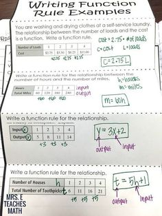 Functions and Writing Function Rules Interactive Notebook Page - perfect for algebra interactive notebooks - this foldable is an awesome activity! Math Teacher, Math Classroom, Teaching Math, Teacher Stuff, Teaching Ideas, Teacher Tools, Future Classroom, Classroom Ideas, Algebra Interactive Notebooks