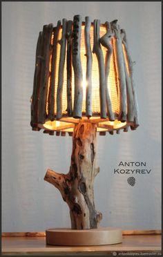 Wooden lamp, driftwood art |  Купить Настольная лампа 52см из дерева в экостиле (светильник из коряг) - серый, настольная лампа