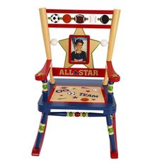This rocker is amazing with spinning balls, a photo frame and a special place under the seat to record the occasion. From Levels of Discovery.       For ages 3 to 6. Up to 100 pounds.       Easy assembly is required and what a special way to involve the kids       Dimensions: 23L x 16 W x 29 H       There is even a smaller version for baby brother by Rock A Buddies Jr.  See below.