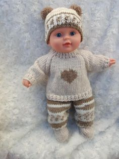 Knitted Doll Patterns, Doll Dress Patterns, Sweater Knitting Patterns, Knitted Dolls, Clothing Patterns, Baby Knitting, Crochet Baby, Knitting Dolls Clothes, Baby Doll Clothes