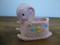 Vintage Pink Elephant Rocking Nursery Planter by jessamyjay