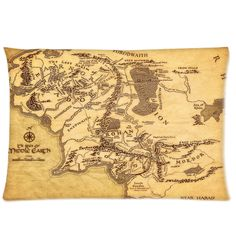 """The Lord of the Rings Map of Middle Earth 3 Pillowcases 20"""" x 30"""""""